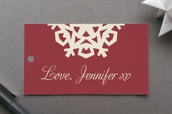 """Snowflake Chic"" - Vintage, Classical Gift Tags in Holly Red by Kylie Holmes."