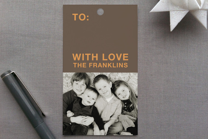 """8 Wishes"" - Simple, Modern Gift Tags in Fall Leaves by Lauren Elisabeth."
