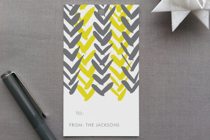 """""""Chevron"""" - Modern, Non-Traditional Colors Gift Tags in Citron by Dean Street."""