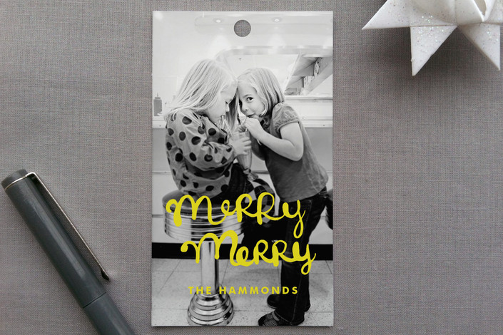 """""""Merry Merry"""" - Modern, Hand Drawn Gift Tags in Berry Red by Dean Street."""