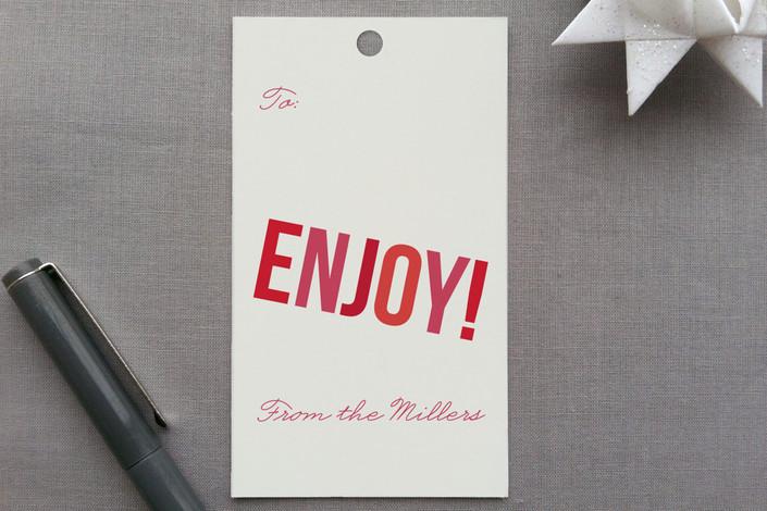 """Enjoy!"" - Gift Tags in Sangria by Melanie Severin."