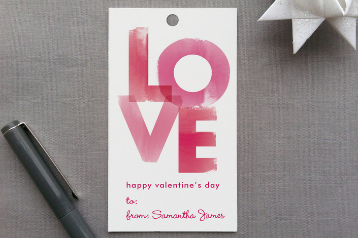 """""""Watercolor Love"""" - Classical, Whimsical & Funny Gift Tags in Raspberry by Robin Ott."""