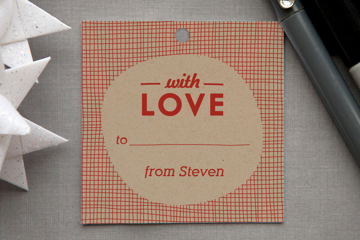 """Meshed with Love"" - Hand Drawn Gift Tags in Red Rose by Monica Tuazon."