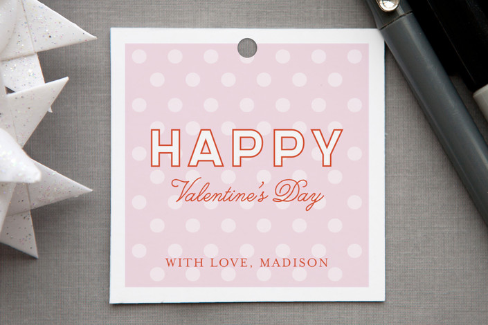 """HAPPY"" - Classical, Simple Gift Tags in Pale Pink by Monica Schafer."