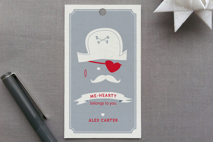 """""""Pirate Heart"""" - Vintage, Whimsical & Funny Gift Tags in Wedgewood by Jen."""