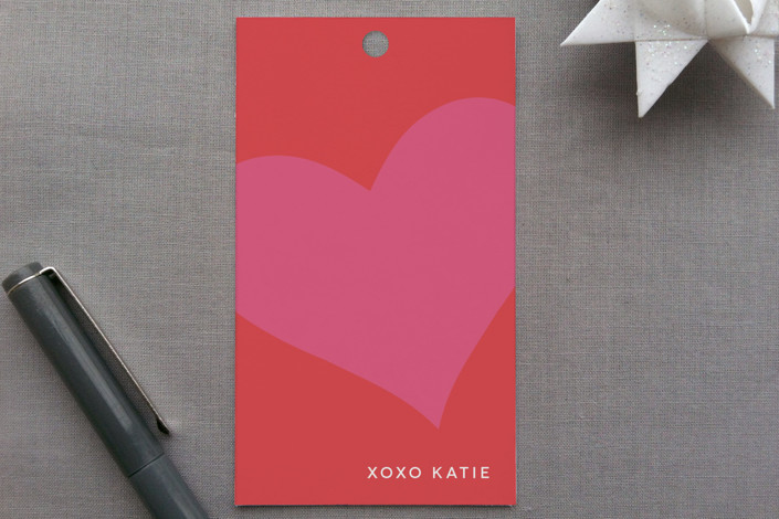"""With All My Heart"" - Modern, Simple Gift Tags in Red Rose by Guess What Design Studio."