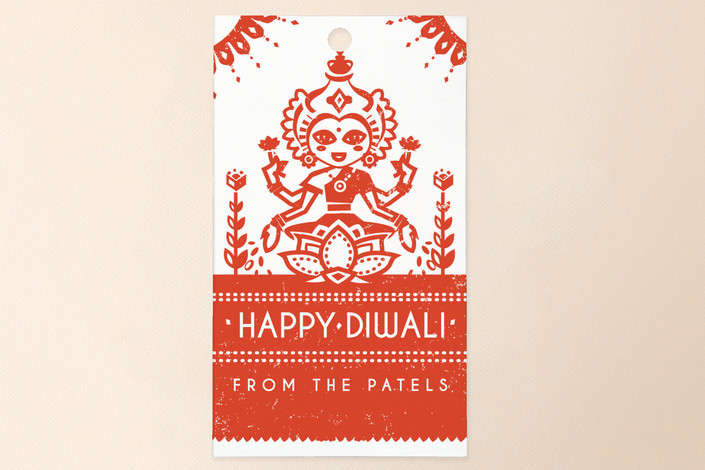"""Graphic Lakshmi"" - Traditional Gift Tags in Tomato by Susie Allen."