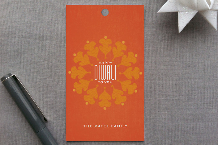 """Vermillion"" - Traditional Gift Tags in Orange by Lauren Chism."