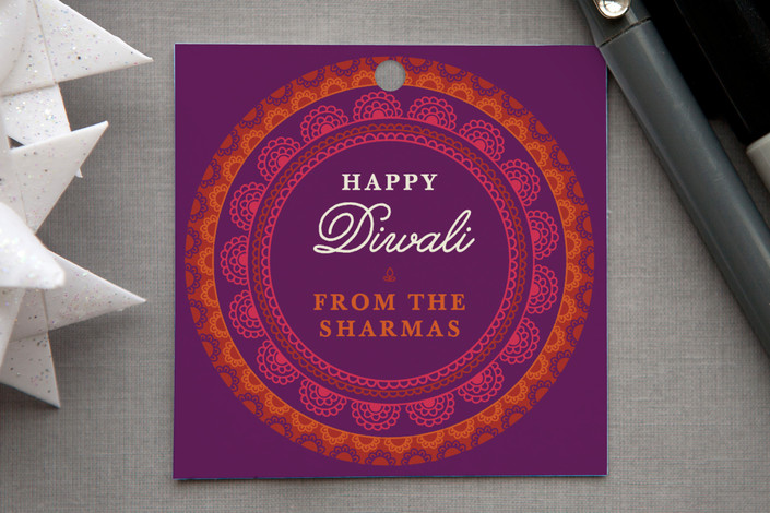 """""""Rangoli Rings"""" - Traditional Gift Tags in Violet by Olivia Raufman."""