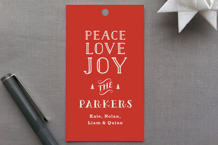 """""""Vintage Type"""" - Vintage, Bold typographic Gift Tags in Holly by Carolyn MacLaren."""