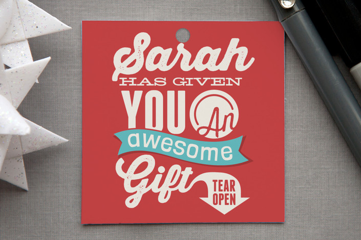 """Awesome Gift"" - Gift Tags in Holly by GeekInk Design."