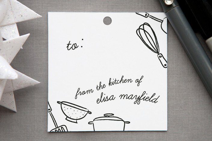 """Kitchen Tools"" - Hand Drawn Gift Tags in Chalkboard by Heritage and Joy."