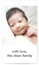 This is a white gift tag by leslie hamer called Photo Collage printing on signature.
