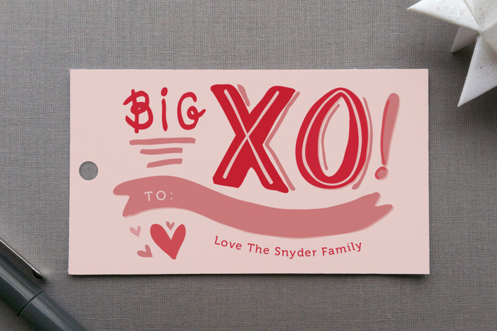 """Big XO"" - Whimsical & Funny Gift Tags in Petal by Pistols."