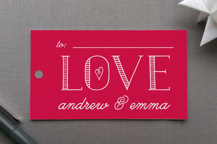 """Bold Love"" - Bold typographic Gift Tags in Poppy by Christina Novak."