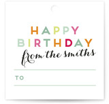 This is a pink gift tag by Lori Wemple called Birthday Snap printing on signature.