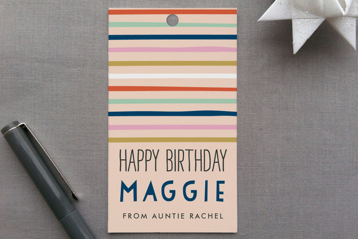 """""""Confetti Stripes"""" - Whimsical & Funny Gift Tags in Peach by Alethea and Ruth."""