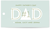 This is a blue gift tag by Lauren Chism called DAD printing on signature.
