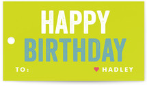 This is a green gift tag by Lauren Chism called Colorful Birthday printing on signature.