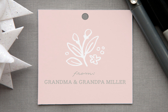 """""""Petite Toile"""" - Elegant, Floral & Botanical Gift Tags in Blush by Jennifer Wick."""