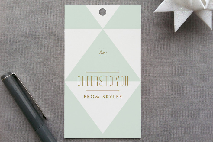 """Geo-Minimal"" - Modern, Simple Gift Tags in Mint by Lauren Chism."