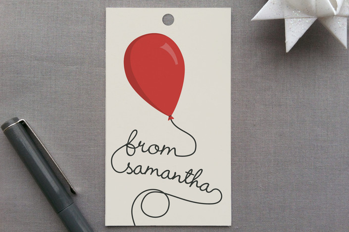 """Party Balloons"" - Simple Gift Tags in Cherry by GeekInk Design."
