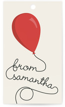 This is a red gift tag by GeekInk Design called Party Balloons printing on signature.