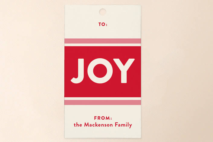 """""""Jolly Joy"""" - Bold typographic, Modern Gift Tags in Berry by Carrie ONeal."""