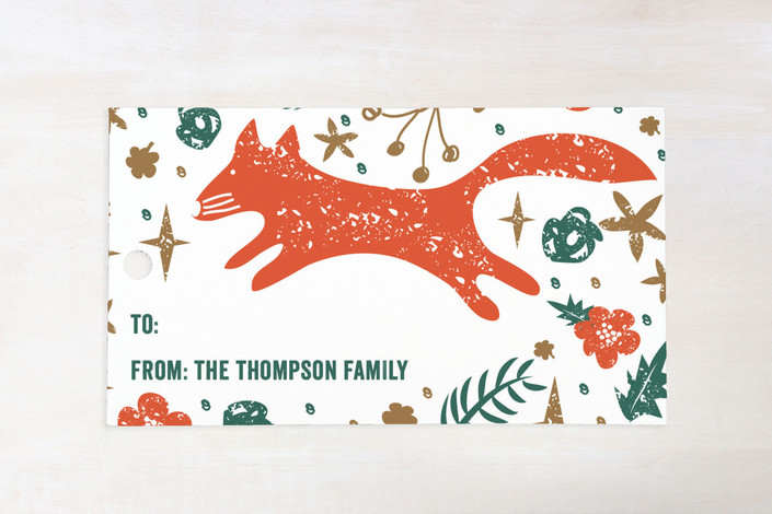 """Fox De Noel"" - Rustic/Craft Gift Tags in Evergreen by Bonjour Paper."