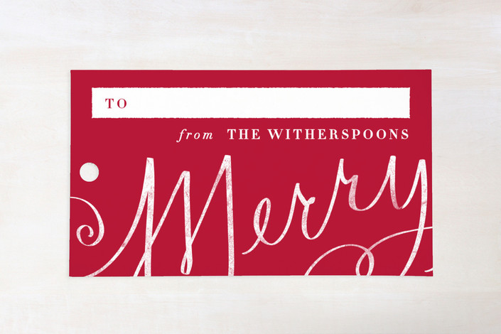 """Merry Calligraphy"" - Bold typographic, Classical Gift Tags in Berry by Lori Wemple."