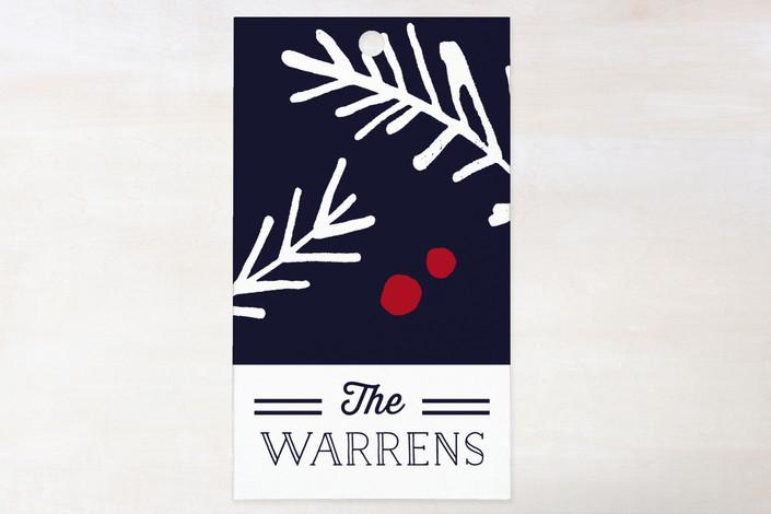 """Navy Pine"" - Simple, Minimalist Gift Tags in Navy by Kelly Nasuta."