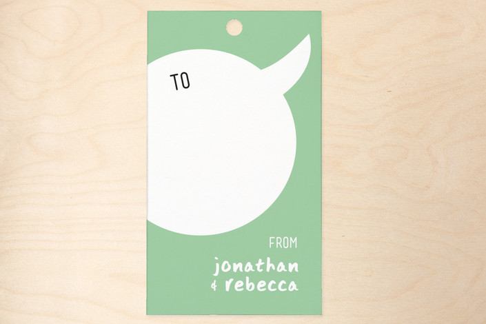 """Comic Convo"" - Bold typographic Gift Tags in Spearmint by Betta."
