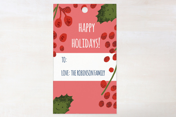 """""""Warm And Cozy Holidays"""" - Whimsical & Funny, Traditional Gift Tags in Deep Coral by Angel Walker."""