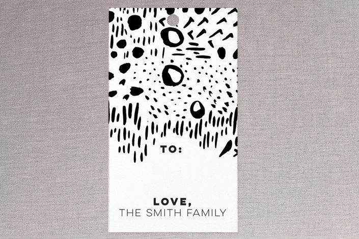 """Brush Strokes BW"" - Modern Gift Tags in Midnight by Christina Flowers."