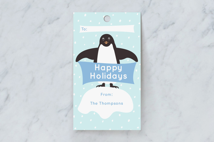 """Presents from Penguins"" - Gift Tags in Sky by Jennifer Holbrook."