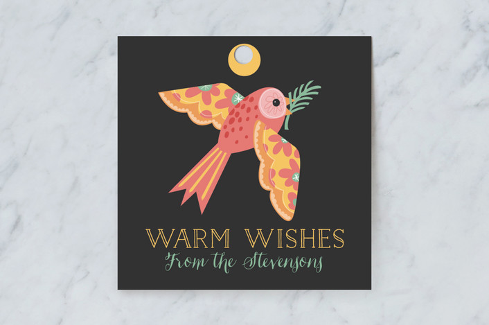 """""""Birds and Baubles"""" - Whimsical & Funny Gift Tags in Pumpkin by Danielle Hartgers."""