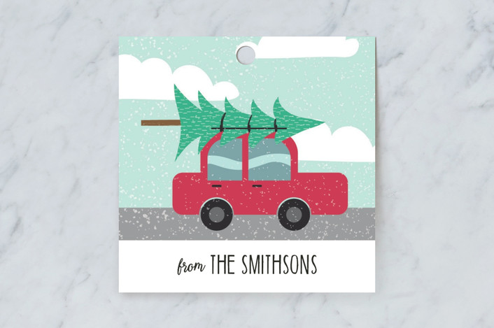"""Travelling Christmas Tree"" - Preppy, Whimsical & Funny Gift Tags in Holly by Rebecca Humphreys."