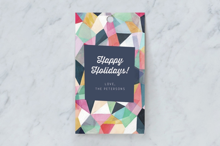 """Kaleidoscope No.1"" - Gift Tags in Navy by Hooray Creative."