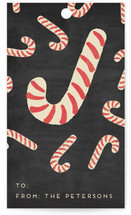 This is a black gift tag by Hooray Creative called Assorted Candy Canes printing on signature.
