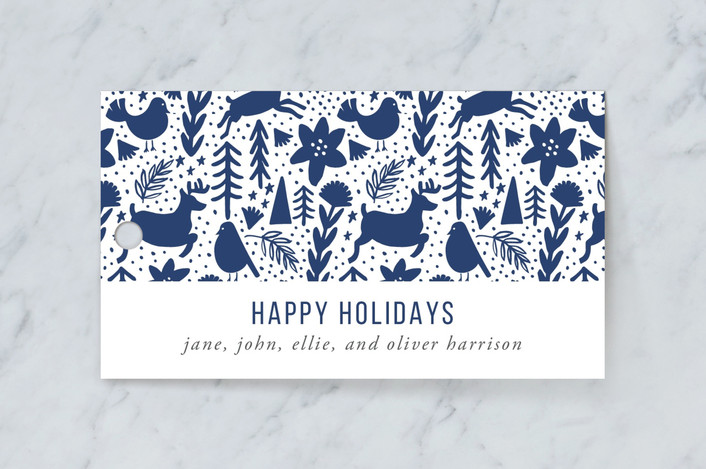 """""""Scandi Holiday"""" - Gift Tags in Navy by Beth Schneider."""