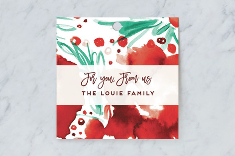 Watery Pointsettia Gift Tags