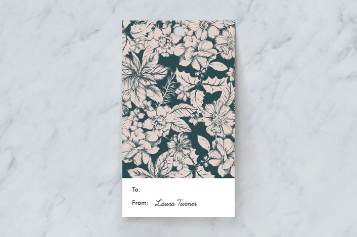 """Holiday Flowers"" - Gift Tags in Dark Turquoise by Susanna Nousiainen."