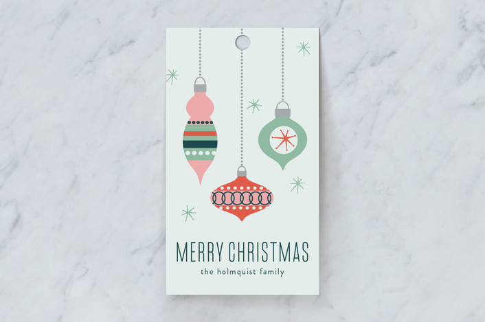 """Retro Ornaments"" - Gift Tags in Mint by Anne Holmquist."