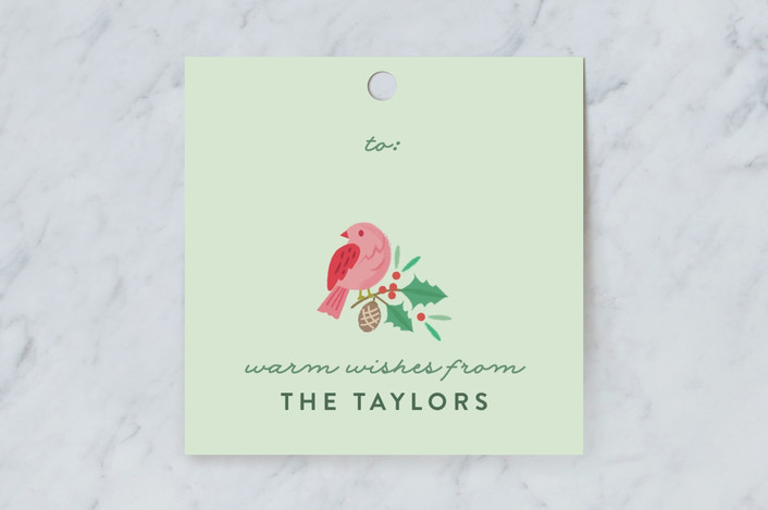 """""""Festive Winter Birds"""" - Gift Tags in Mint by curiouszhi design."""