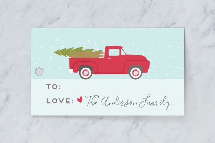 """""""I'll be home for christmas"""" - Whimsical & Funny Gift Tags in Azure by The Chatty Press."""