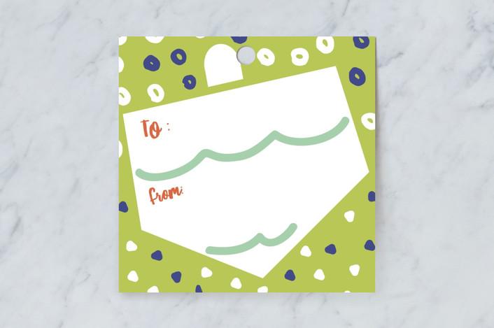 """Dreidel Dance"" - Gift Tags in Jade by Ariel Rutland."