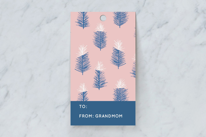 """""""Snow Tipped Trees"""" - Gift Tags in Peony by Yaling Hou Suzuki."""