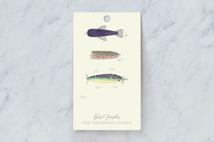 """Vintage Fishing Lures"" - Preppy Gift Tags in Ecru by Jessie Burch."