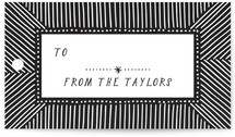 This is a black gift tag by Alethea and Ruth called Tree Fern Stripe printing on signature.