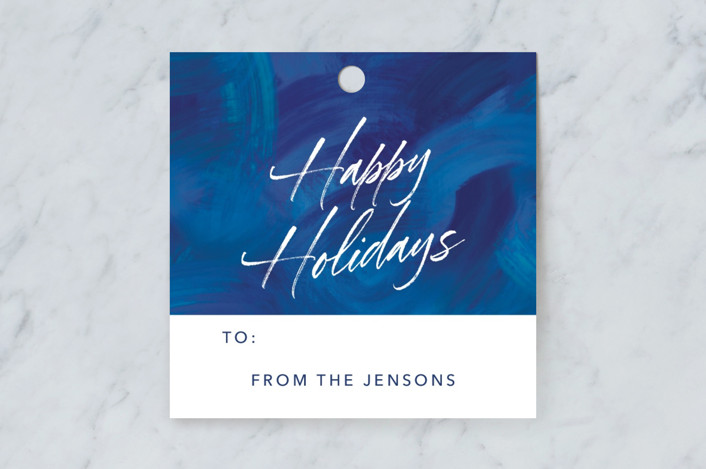 """""""Blue Painted Brushstrokes"""" - Gift Tags in Blueberry by Noonday Design."""